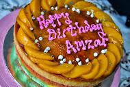 kek karemel pelangi tambahan buah2an dan tulisan