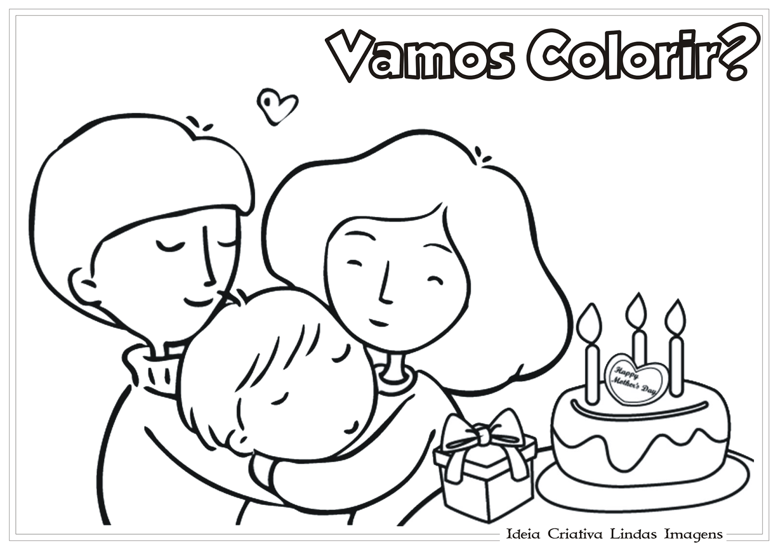 Desenho Dia das Mães para colorir