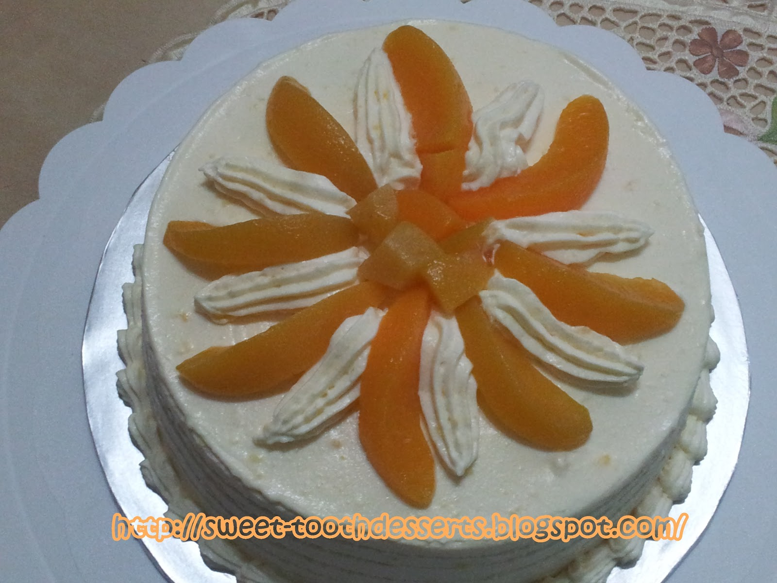 Snowy Peach Custard Cream Cake Recipe