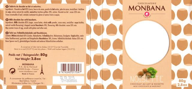 tablette de chocolat lait gourmand monbana lait noisette