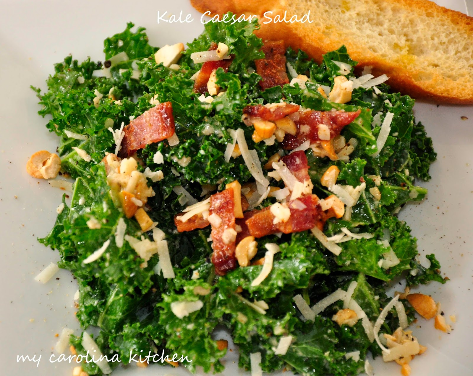 My Carolina Kitchen: Kale Caesar Salad with Smoky Bacon and Cashews ...