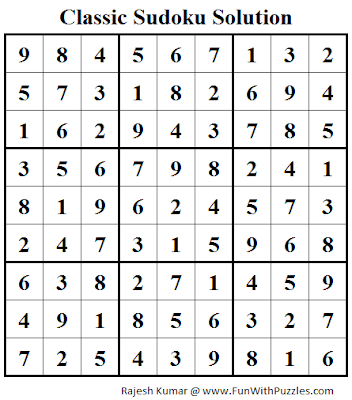 Classic Sudoku (Fun With Sudoku #45) Solution