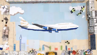 The special artwork created by British Airways staff at Heathrow Airport