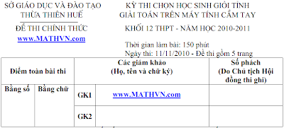 De thi CASIO Thua Thien Hue 2011, De thi CASIO co dap an, MTCT 2011, MTBT 2011