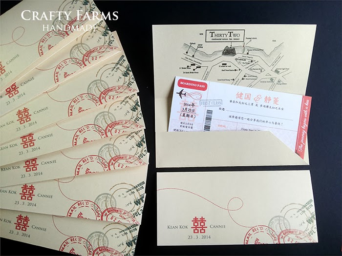 thirty two at the mansion chinese wedding boarding pass invitation cards, double happiness