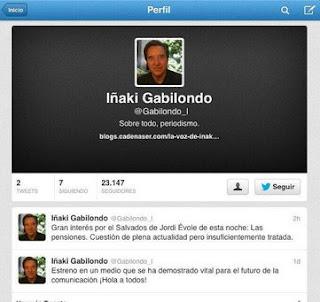 Cuenta falsa de Iñaki Gabilondo en Twitter