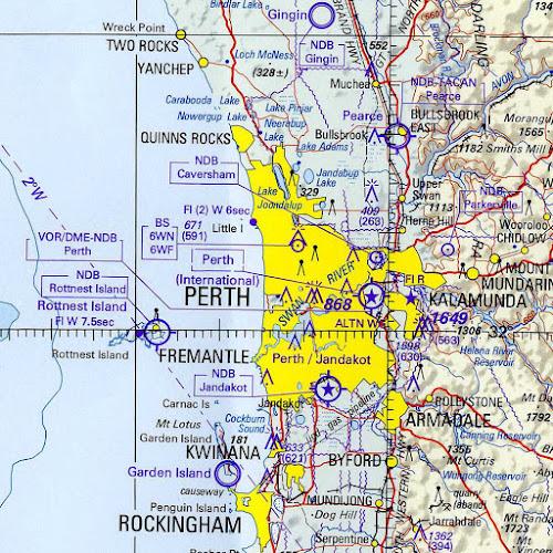 Mapa da região de Perth - Austrália