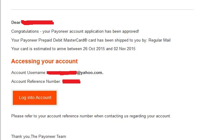 Approved payoneer account