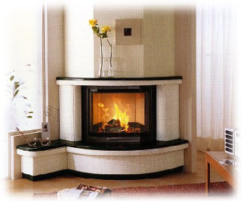 Arredamenti moderni riscaldarsi con una stufa a pellet - Stufa a pellet nel camino ...