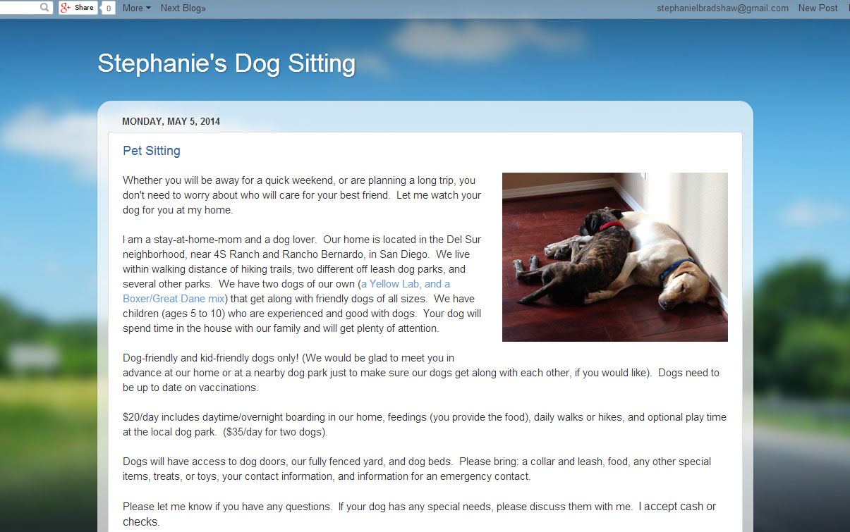 Stephanie's Pet Sitting Site
