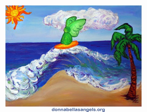 Surfing Angel Raphael Riding Healing Waves