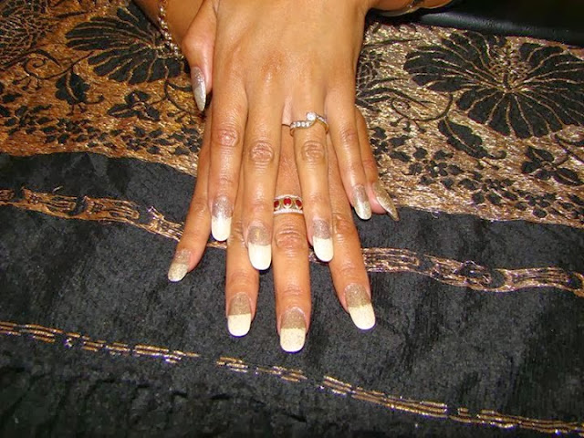 Acrylic French white with silver/gold mix hazing - Nail Art Design