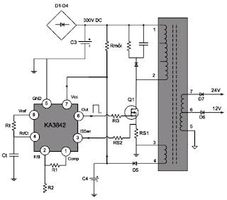 Hình 16 - Mạch dao động và công suất của khối nguồn có chức năng tạo ra điện áp thứ cấp