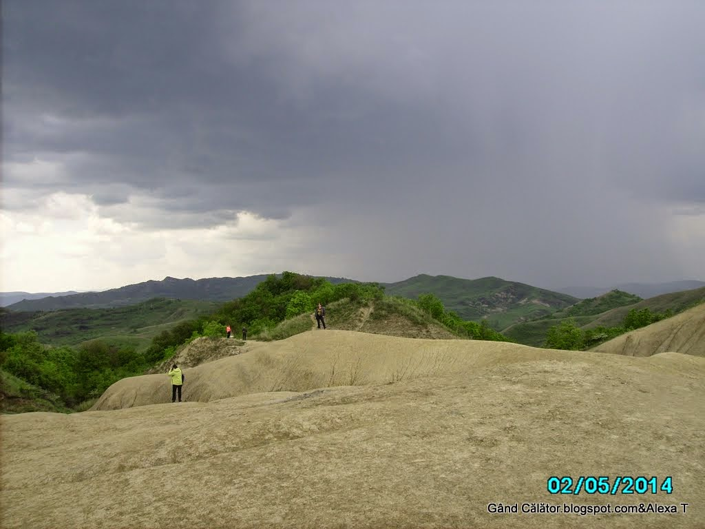 Panorama at the mud volcanoes from Berca. And my sister, Rox.
