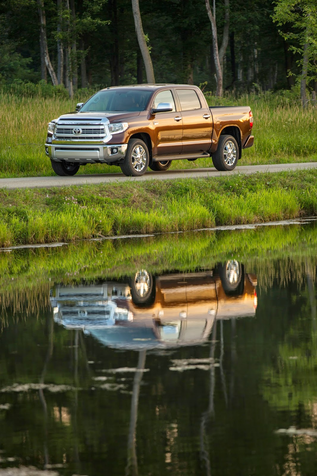 Front 3/4 view of 2014 Toyota Tundra CrewMax 1794 and its reflection in a pond
