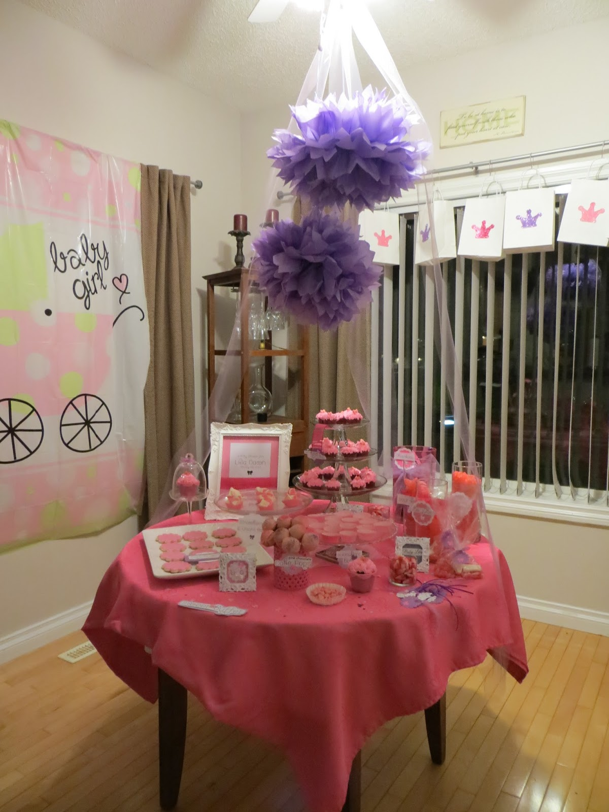 we did a very special pink and purple baby shower for juli and her
