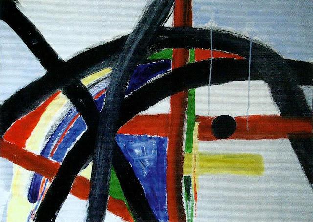 Cuadro titulado L´Issue con rayas gruesas en negro, verde, rojo y amarillo