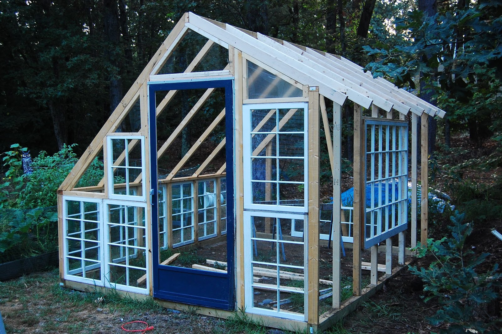 Custom backyard greenhouse with recycled windows for Recycled windows and doors