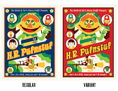 San Diego Comic-Con 2012 Exclusive H.R. Pufnstuff Screen Prints by Dave Perillo - Blue Regular Edition & Red Variant Edition