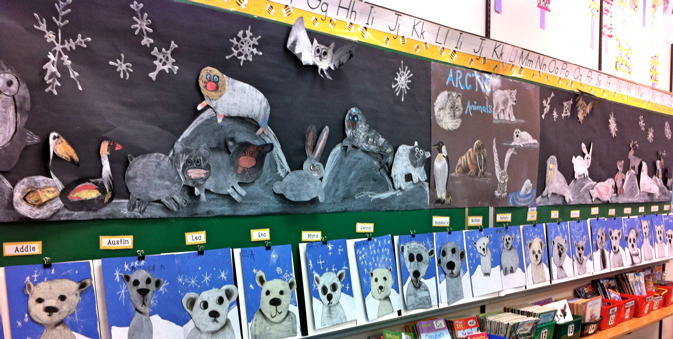 Arctic Animals And Glued Them Onto A Long Sheet Of Black Paper You Can See They All Tried To Copy My Poster In The Middle With Their Own Versions