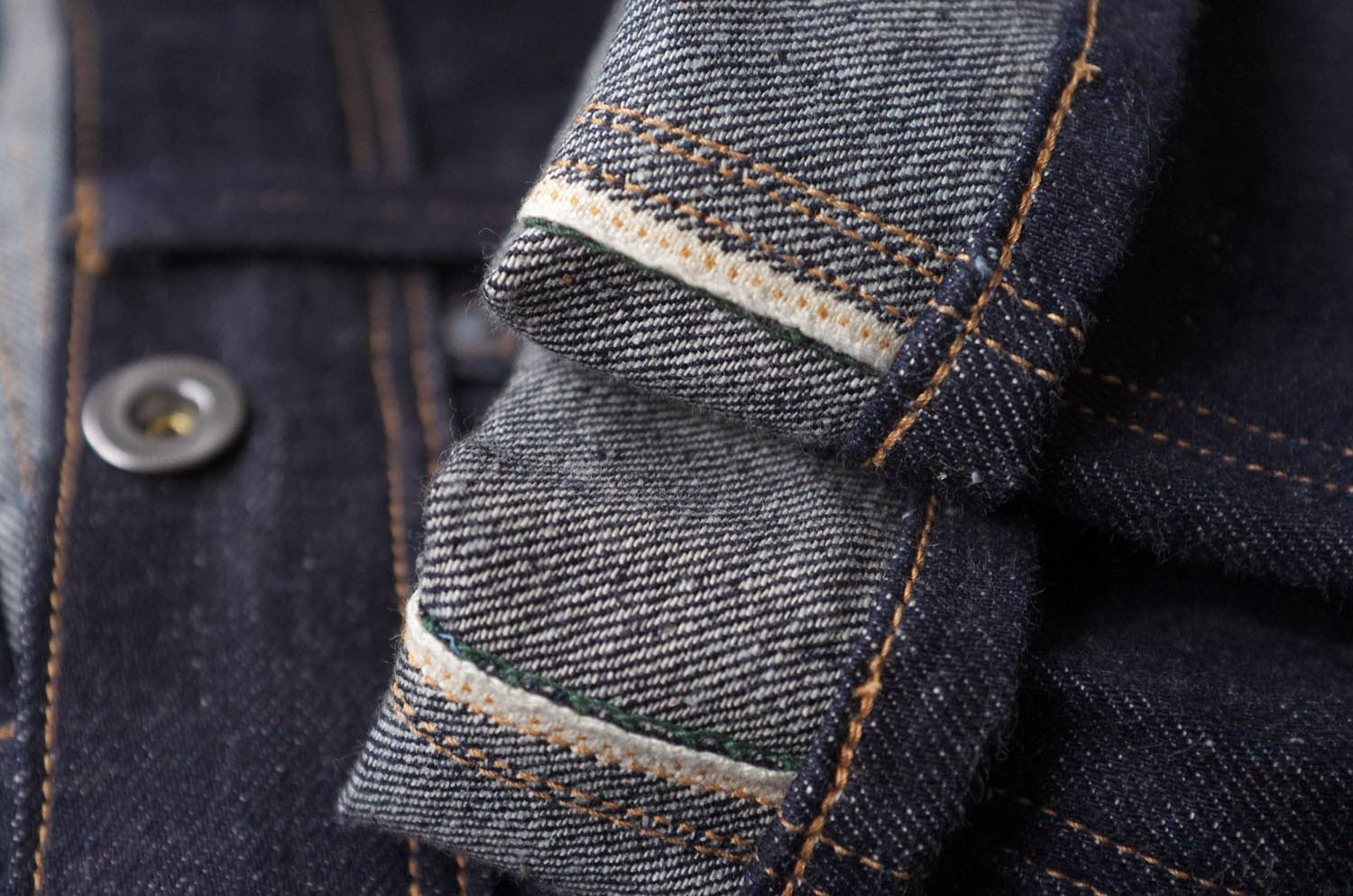 Brown-Duck & Digger 12.5 oz Rough Riders - felled seam detail