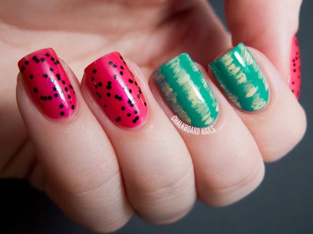 easy watermelon nail art chalkboard
