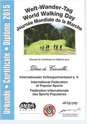 """Diploma """"Dia Mundial da Caminhada"""" 08/05/2015"""