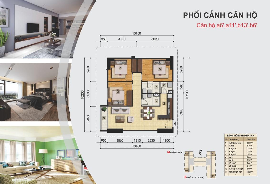 Thiết kế căn hộ a6', a11' b13', b6'