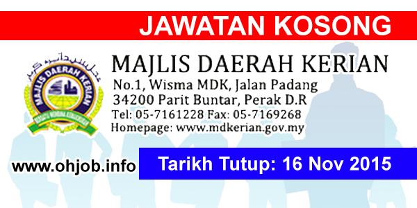 Jawatan Kerja Kosong Majlis Daerah Kerian (MDK) logo www.ohjob.info november 2015