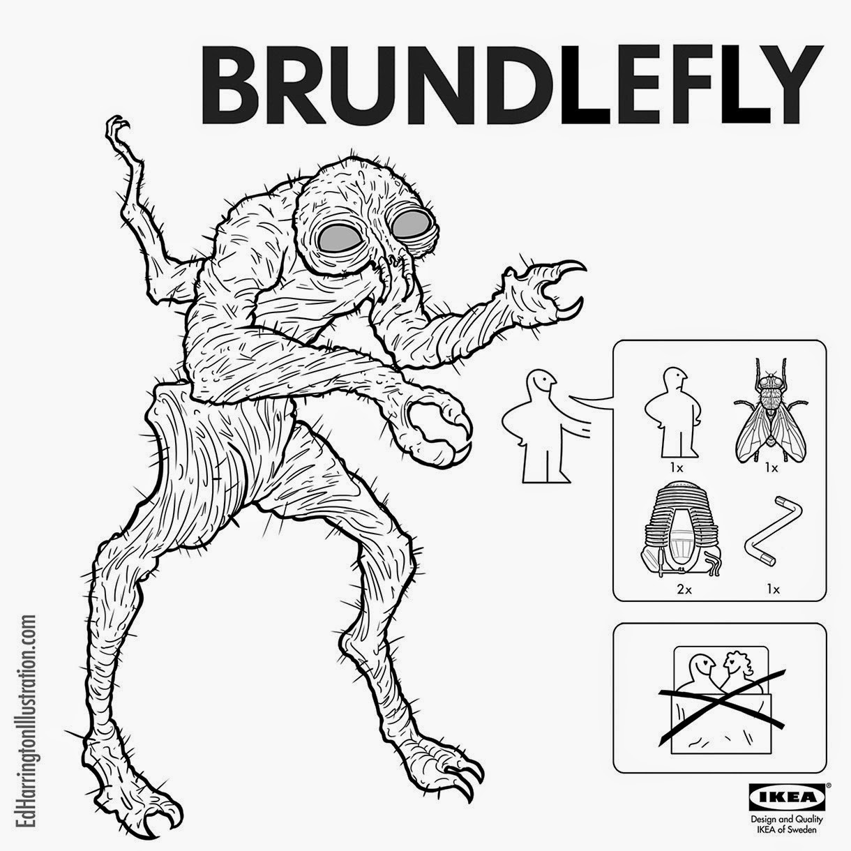 02-The-Fly-Ed-Harrington-Illustrations-Assemble-Monsters-with-IKEA-Instructions-www-designstack-co
