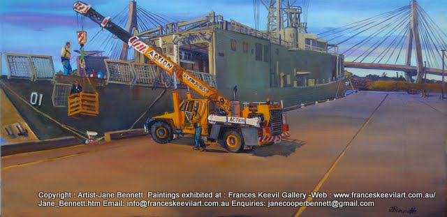 Marine Art-plein air oil painting of ex HMAS Adelaide at Glebe Island Wharf by marine and industrial heritage artist Jane Bennett