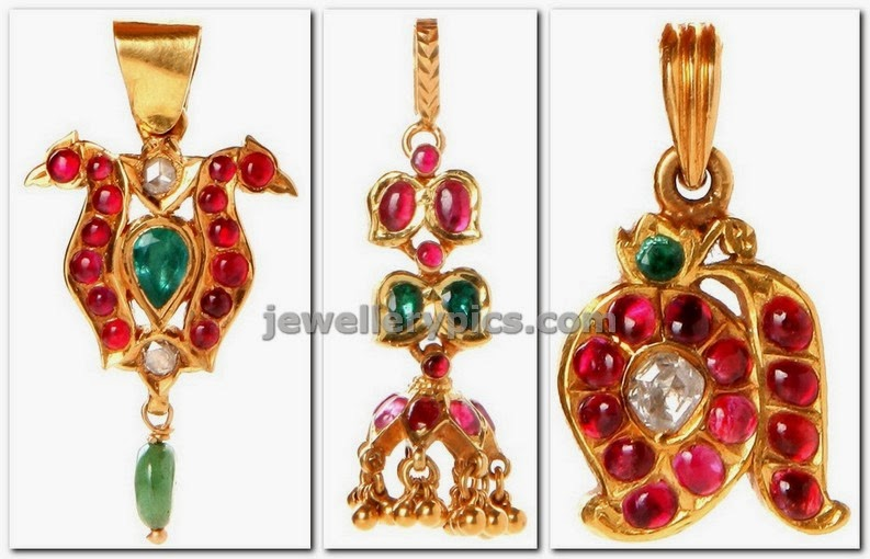 antique pendents in gold studded with ruby emeralds by NAC jewellers
