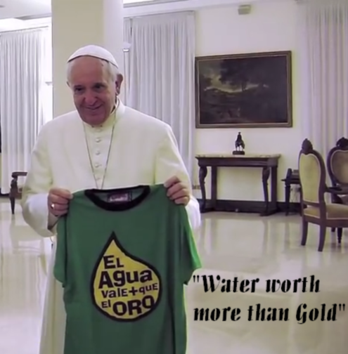"photo of Pope Francis with T-Shirt, ""Water worth more than gold"""