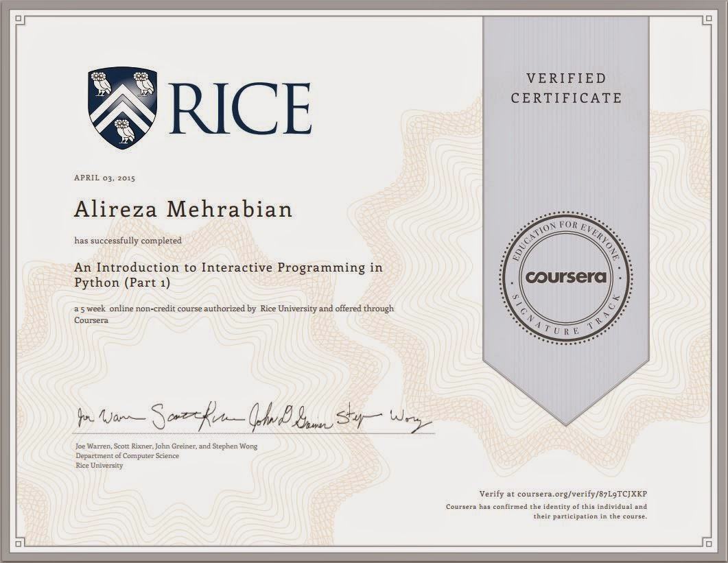 my first certificate from coursera