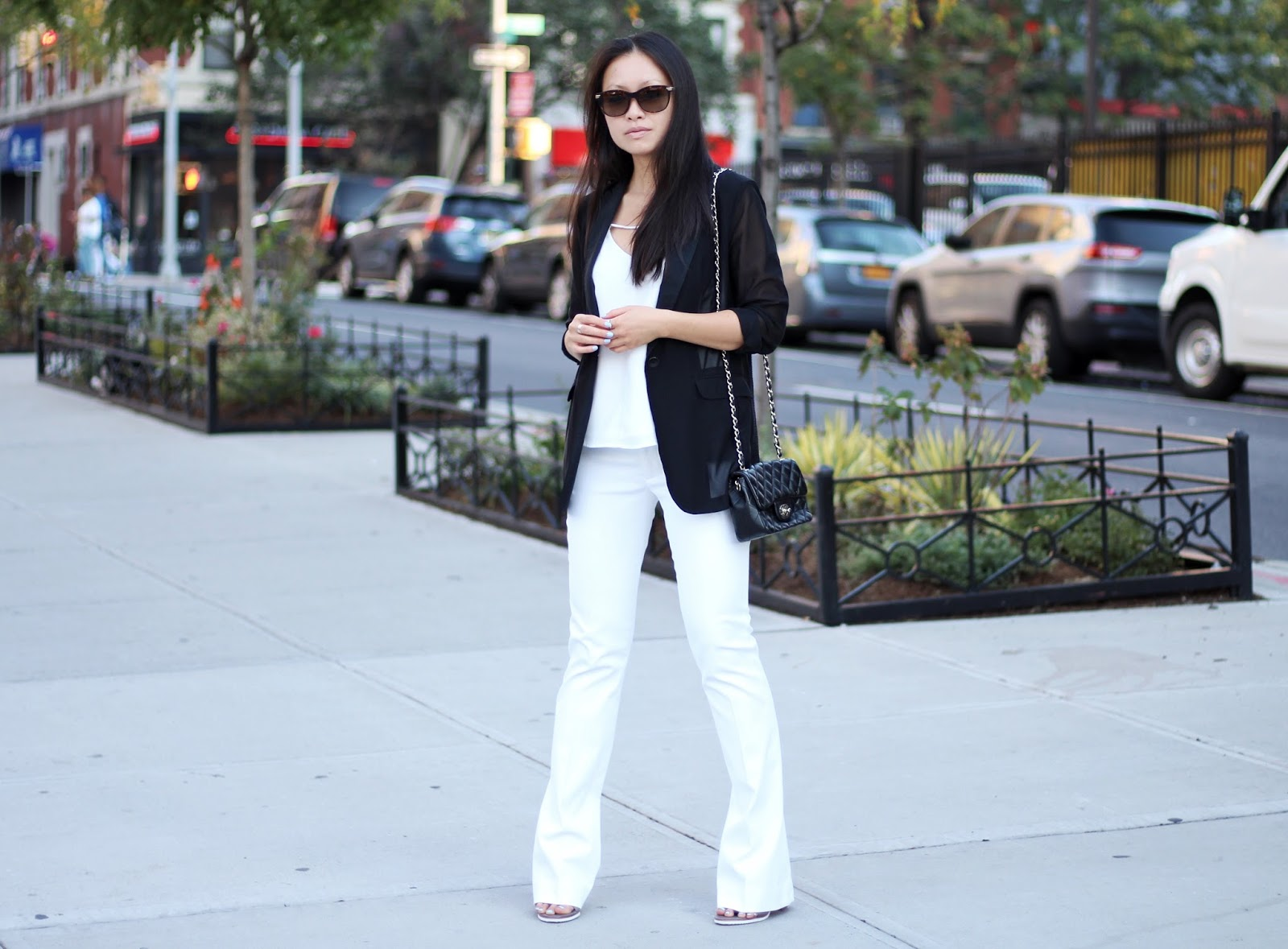 Black Rag & Bone blazer Cmeo top alice and olivia white trousers Tibi mules