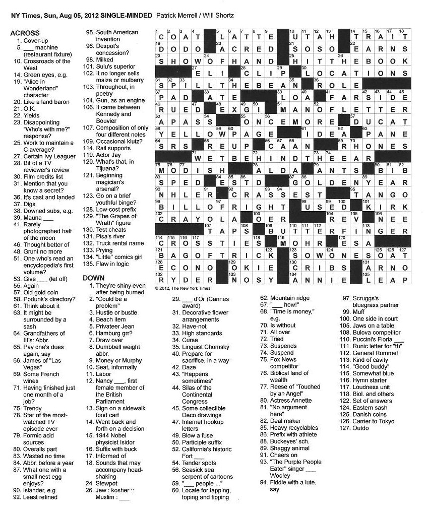 The New York Times Crossword in Gothic: 08.05.12 — Single-Minded
