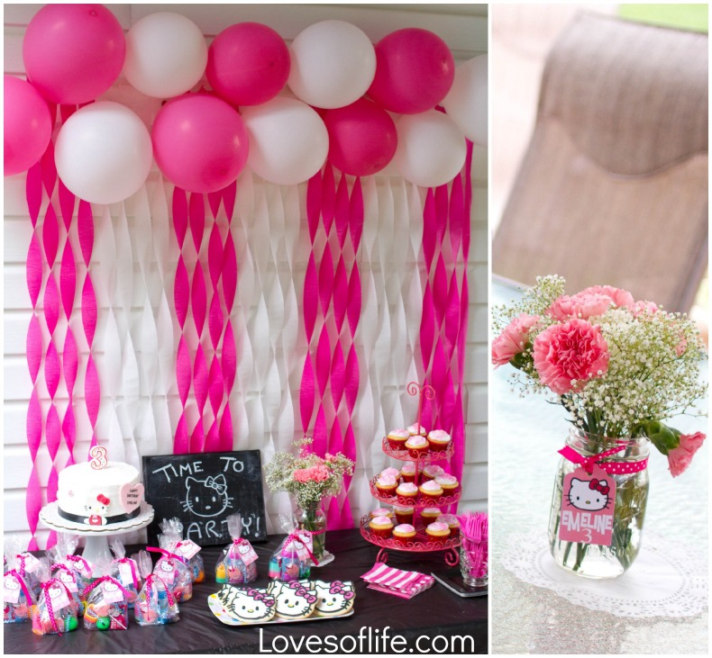 Loves of life emeline 39 s hello kitty 3rd birthday party for Balloon and streamer decoration ideas