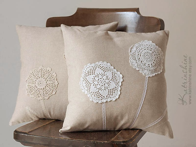 shabby chic ecru pillow