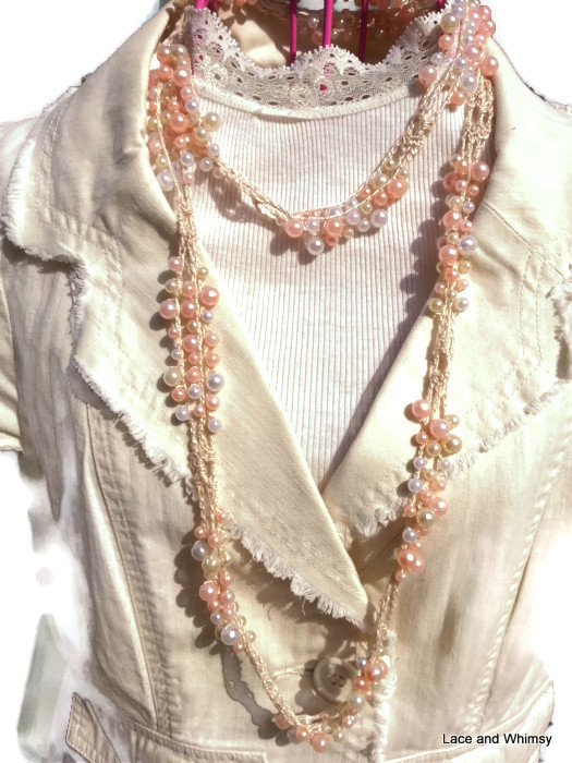 Lace And Whimsy Slinky Infinity Beaded Scarf Crochet Pattern