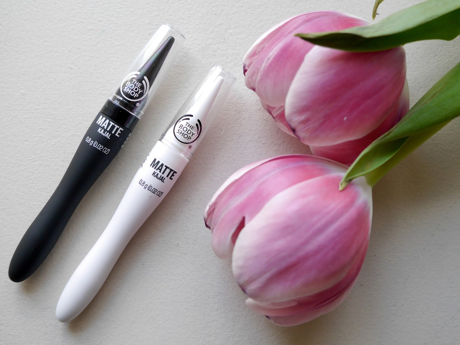 The Body Shop Matte Kajal Liners black and white swatch review
