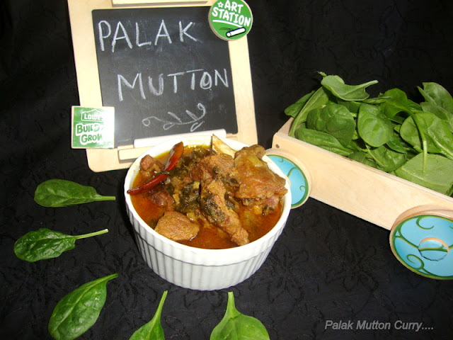 Palak Mutton Curry Recipe / Palak Gosht Recipe / Spinach & Meat Curry Recipe / Mutton Palak Curry Recipe
