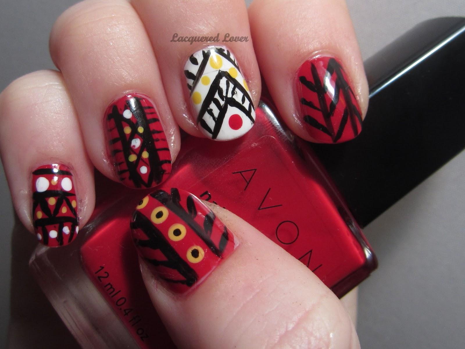 Lacquered Lover: Avon Nail Polish Tribal Nail Art!