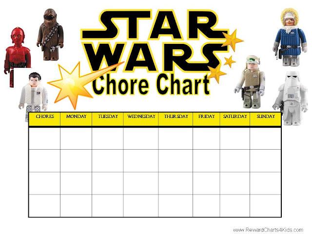 Printable Star Wars chore chart from Reward Charts for Kids