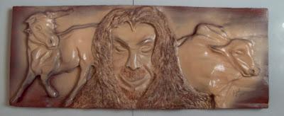 escultura de parede, quadros de madeira, obras de arte, boi de madeira