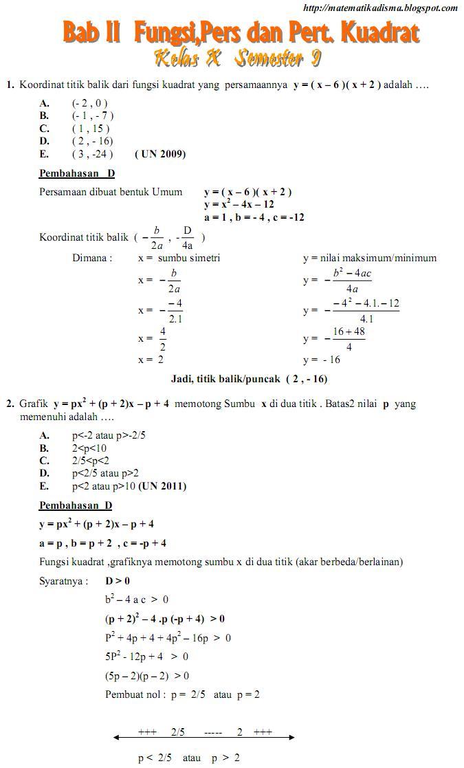 Matematika Di Sma Soal Dan Pembahasan Ujian Nasional Bab Fungsi Persamaan Dan Pertidaksamaan