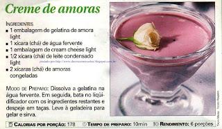 RECEITA DE DOCES LIGHT: CREME DE AMORAS