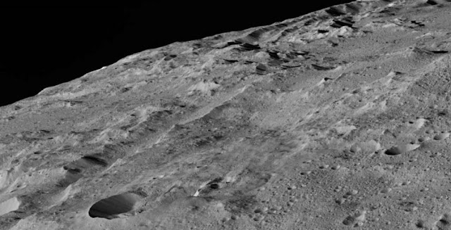 This image of Ceres was taken in Dawn's low-altitude mapping orbit around a crater chain called Gerber Catena. Credits: NASA/JPL-Caltech/UCLA/MPS/DLR/IDA