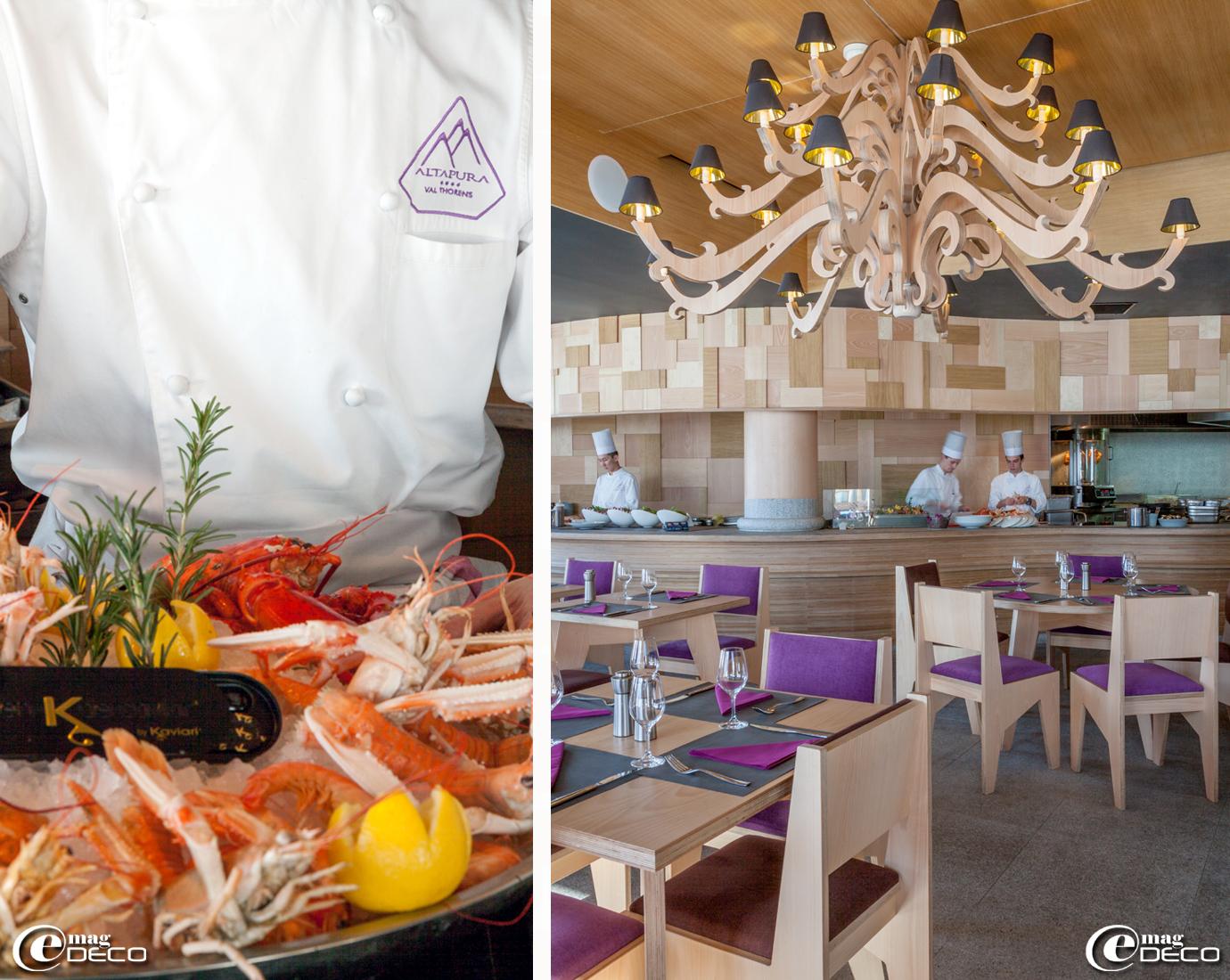 Show-cooking dans le restaurant '2 Mille 3' du palace 'Altapura' à Val Thorens