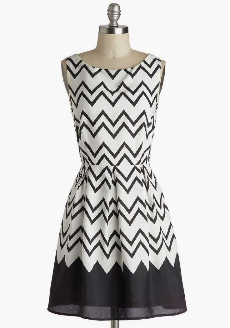 Modcloth dress, modcloth.com, Interviews at the Party Dress in Black, Zig Zag print, Taylor brand, white and black colors, fit and flare, 1950s style, retro fashion, vintage inspired