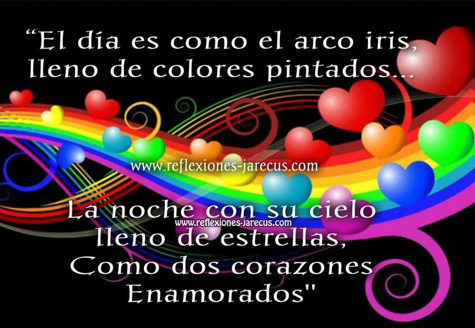 El día es como el arco iris, lleno de colores pintados.